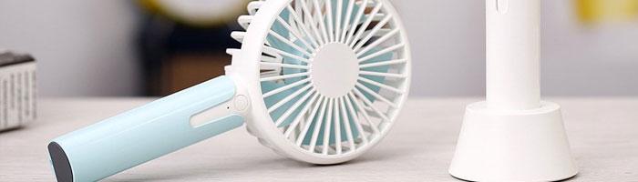 Mini ventilateur portable bleu et blanc