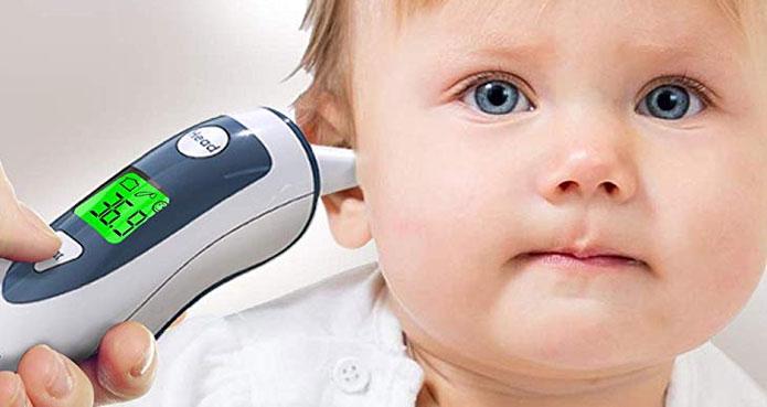 Bébé et le Thermomètre infrarouge iProven DMT-489 double capacité front et oreille