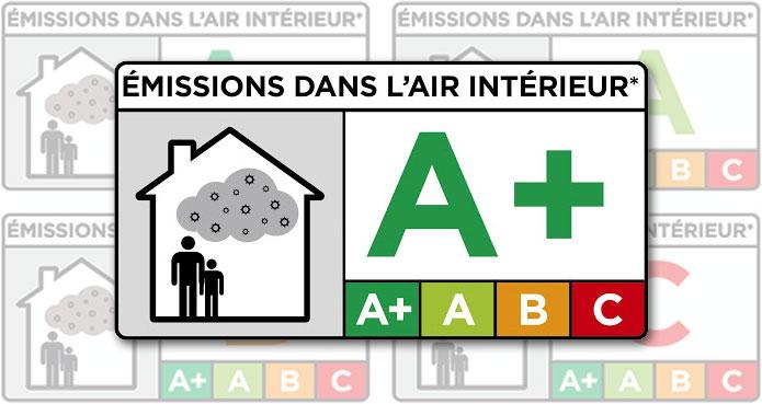 Etiquette d'émissions de polluant dans l'air intérieur