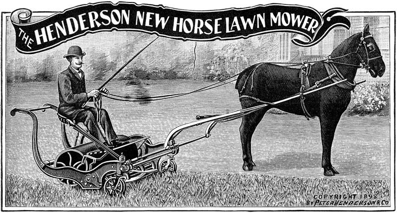 Tondeuse à gazon Henderson, tractée par un cheval (1898)
